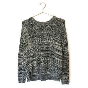 Grey Marled Knit Pullover Sweater
